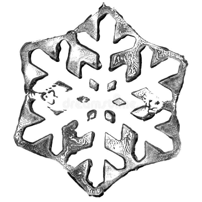 Płatek śniegowy zimowy kryształ z akrylową farbą śnieżną mróz lodowy obrazy stock