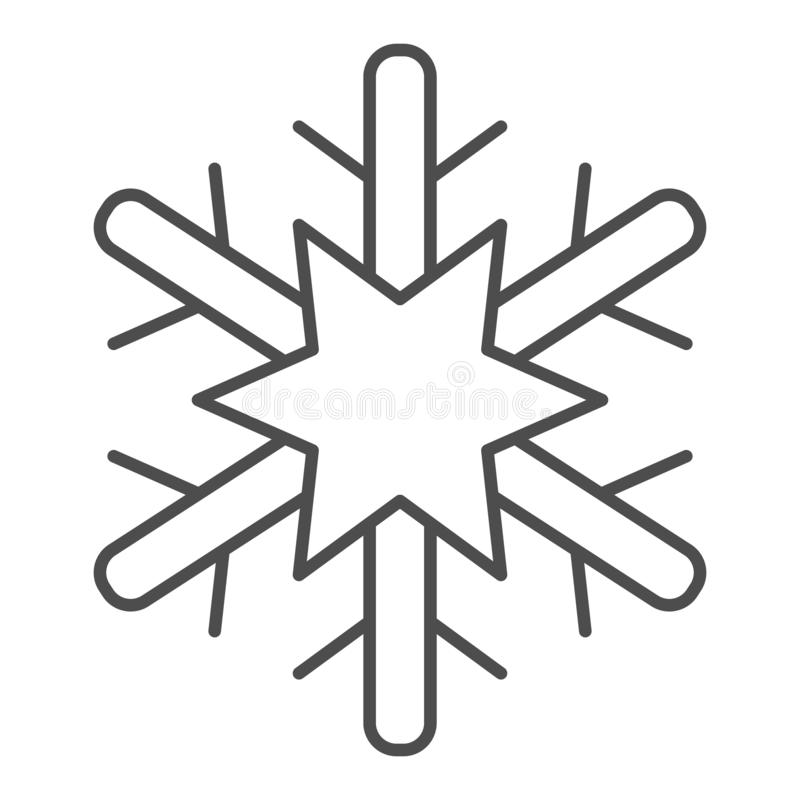 Płatek śniegu cienka kreskowa ikona Mrozowa wektorowa ilustracja odizolowywająca na bielu Śnieżny konturu stylu projekt, projektu ilustracji