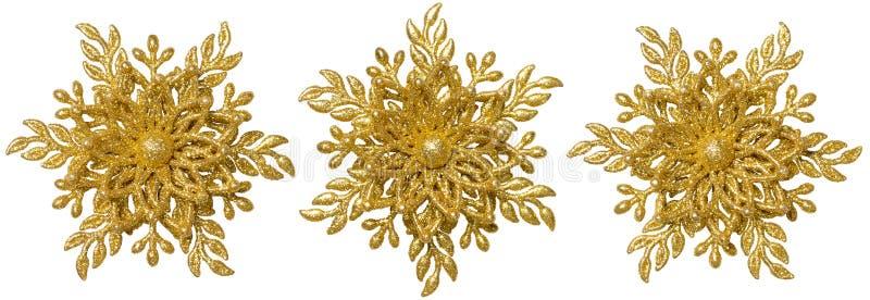 Płatek śniegu dekoraci Bożenarodzeniowy ornament, Xmas Złocisty Śnieżny płatek zdjęcia stock