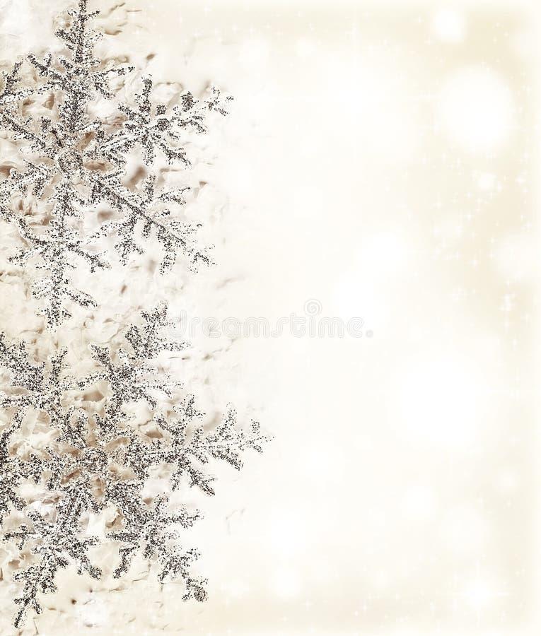 Płatek śniegu granica beżowa dekoracyjna zdjęcie royalty free