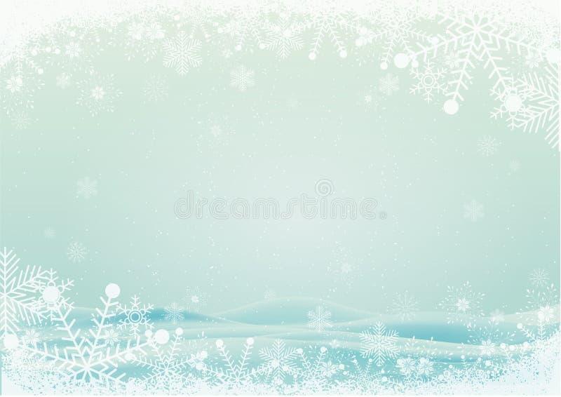 Płatek śniegu granica z śnieżnym wzgórza tłem ilustracja wektor