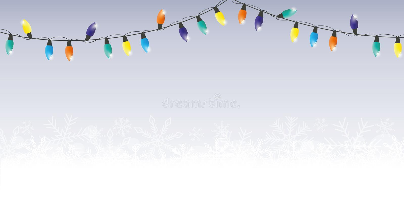 Płatek śniegu i kolorowy czarodziejskich świateł bożych narodzeń zimy tło ilustracja wektor