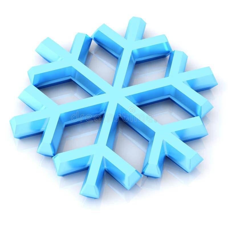 Płatek śniegu ikona 3d royalty ilustracja