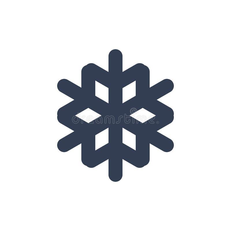 Płatek śniegu ikona Czarnej sylwetki płatka śnieżny znak, odosobniony na białym tle Płaski projekt Symbol zima, marznący ilustracji