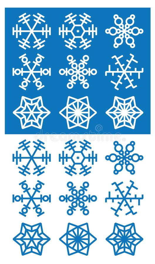 Płatek śniegu ikony na białym i błękitnym tle royalty ilustracja