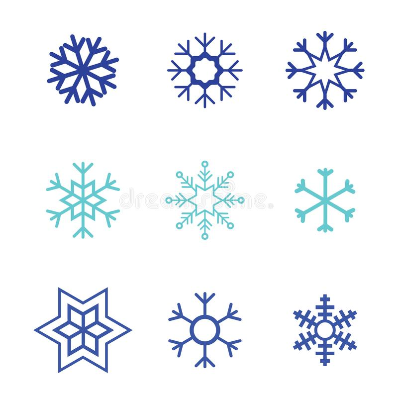 Płatek śniegu ikony wektorowego białego tła ustalony kolor Zim błękitnych bożych narodzeń śnieżny płaski krystaliczny element Pog ilustracji