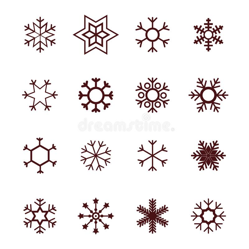 Płatek śniegu ikony wektorowego białego tła ustalony kolor Zim błękitnych bożych narodzeń śnieżny płaski krystaliczny element Lod ilustracji
