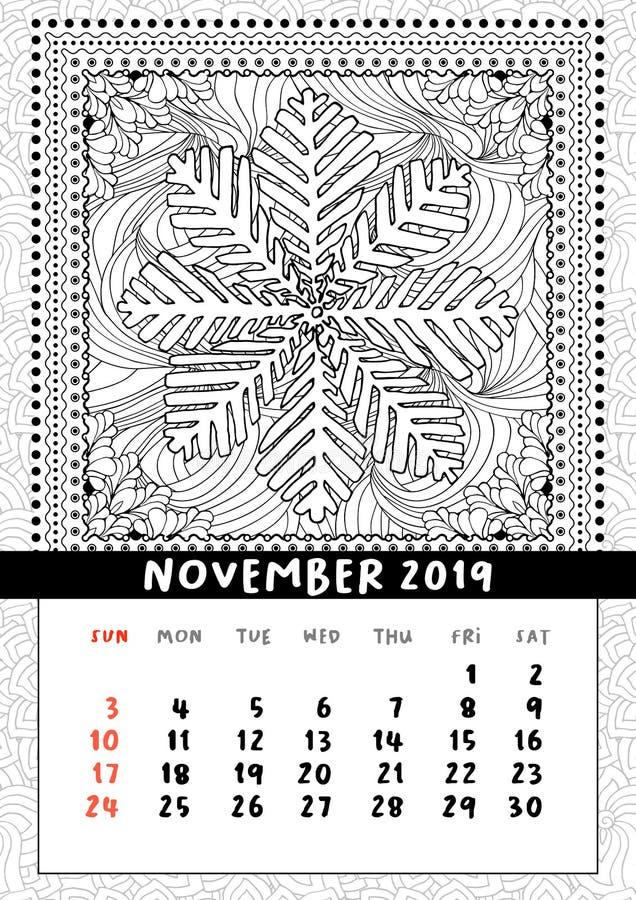 Płatek śniegu kolorystyki książki strona, kalendarzowy Listopad 2019 ilustracji