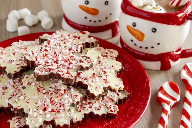 Płatek śniegu kształtujący czekoladowi miętówki barkentyny cukierki fotografia royalty free