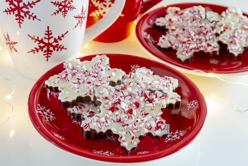 Płatek śniegu kształtujący czekoladowi miętówki barkentyny cukierki zdjęcie stock