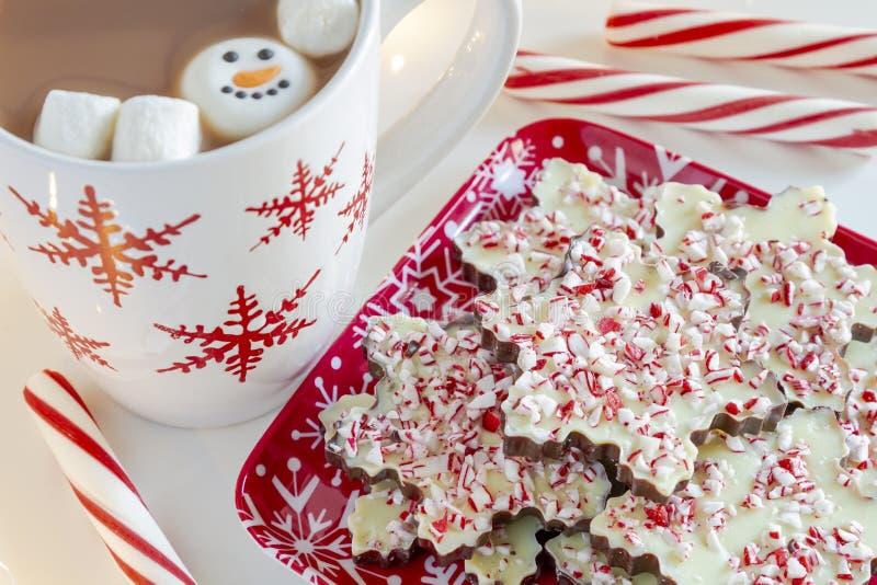 Płatek śniegu kształtujący czekoladowi miętówki barkentyny cukierki fotografia stock