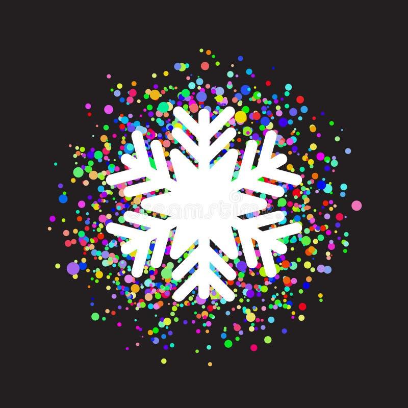 Płatek śniegu na colourful confetti tle ilustracji