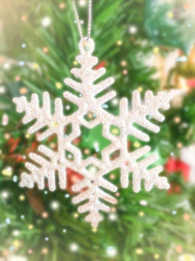 Płatek śniegu na mas drzewie fotografia stock