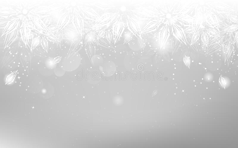 Płatek śniegu osrebrzają, Bożenarodzeniowy zima wakacje, elegancki ornament, a ilustracja wektor