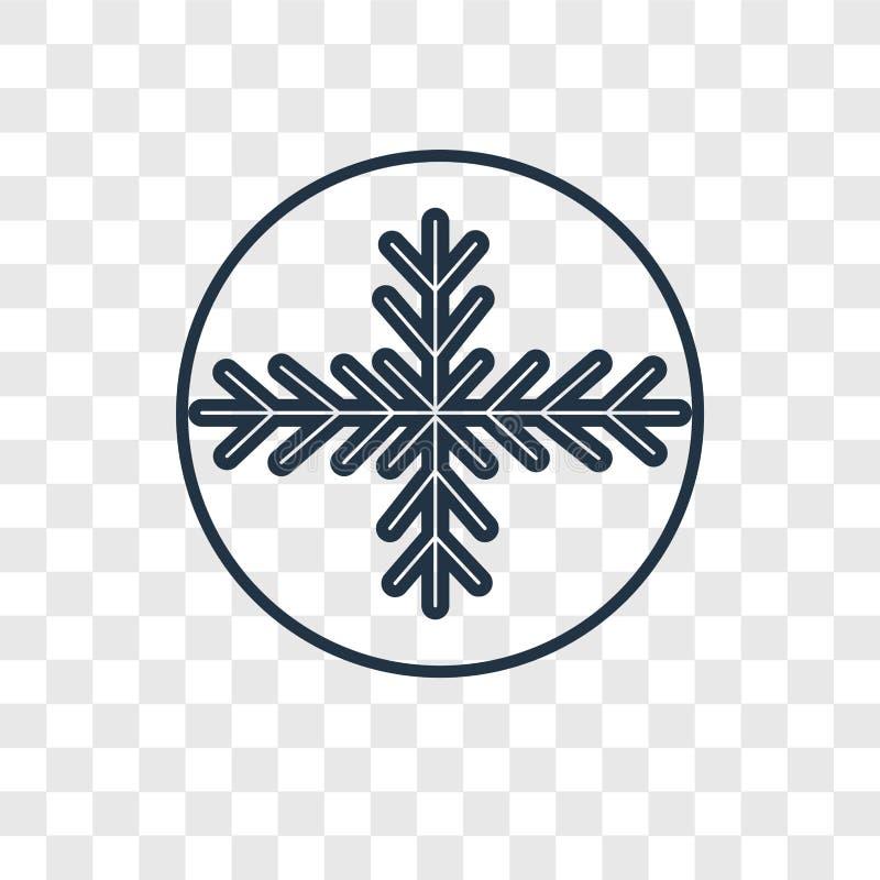 Płatek śniegu pojęcia wektorowa liniowa ikona odizolowywająca na przejrzystym bac ilustracji