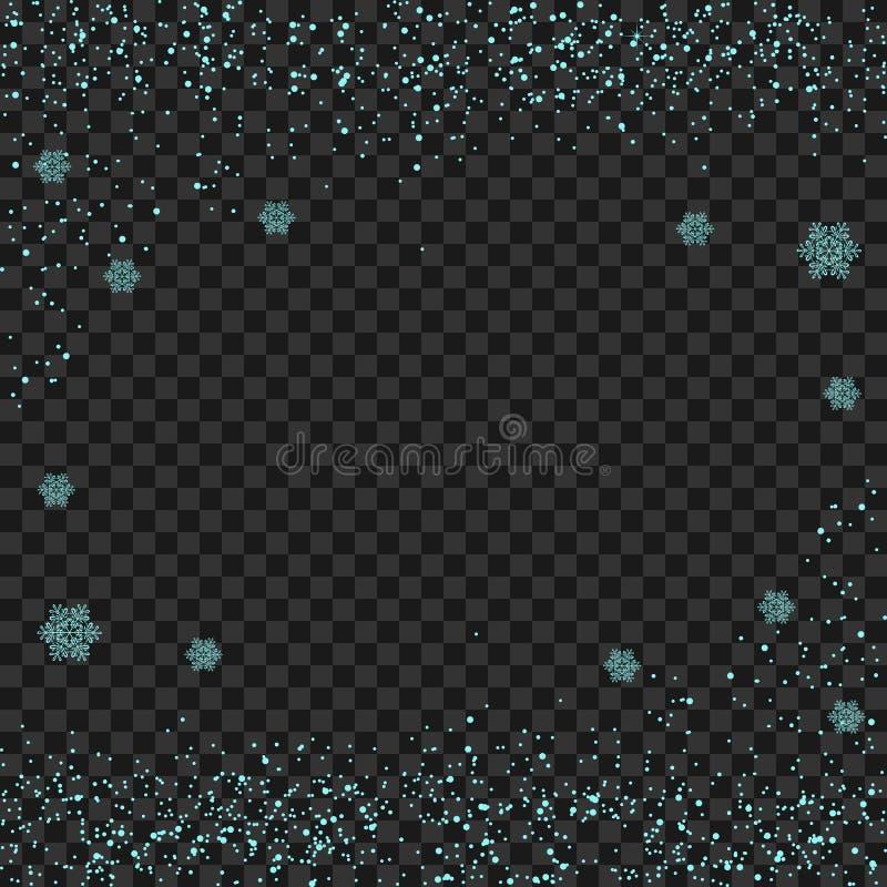 Płatek śniegu przejrzysty Błękitnego błyskotliwego śnieżnego pyłu śladu iskrzaste cząsteczki, shimmer wektoru tło Opadu śniegu sk