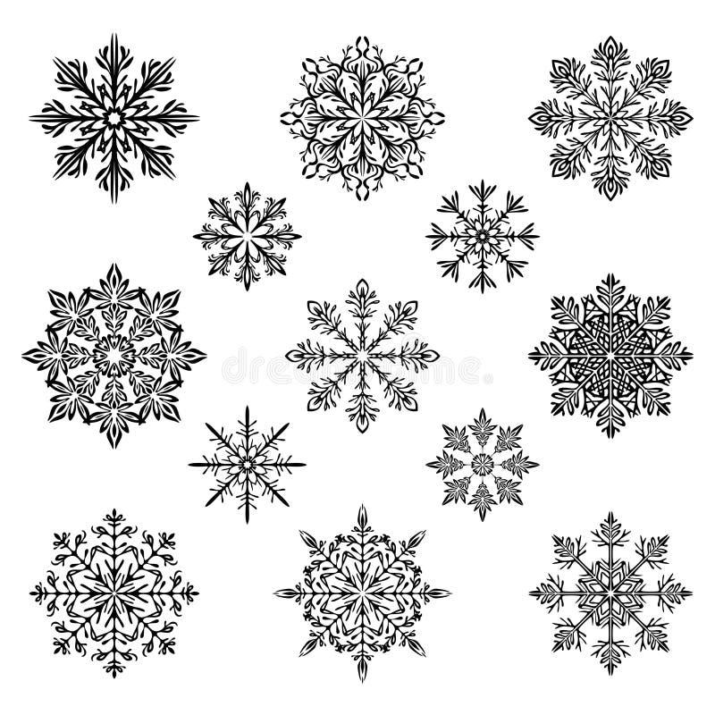 Płatek śniegu sylwetki wektoru set royalty ilustracja