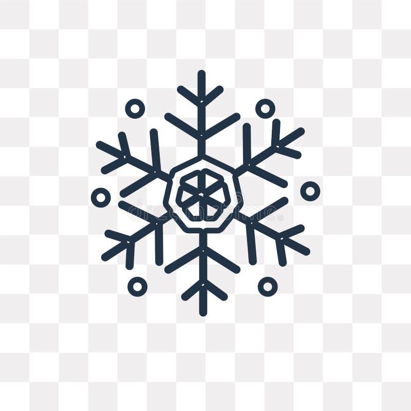 Płatek śniegu wektorowa ikona odizolowywająca na przejrzystym tle, liniowym royalty ilustracja