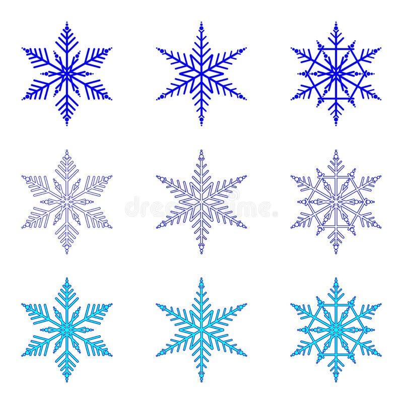Płatek śniegu: wektorowy ustawiający płatki śniegu na białym tle ilustracja wektor