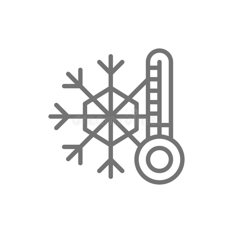 Płatek śniegu z termometrem, niska temperatura, mrozowej linii ikona ilustracji