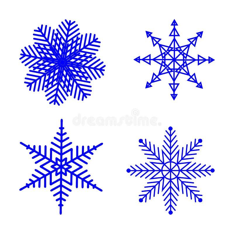 Płatek śniegu zima ustawiająca błękitna odosobniona cztery sylwetki ikony na białym tle dla boże narodzenie projekta Tło dla ilustracja wektor