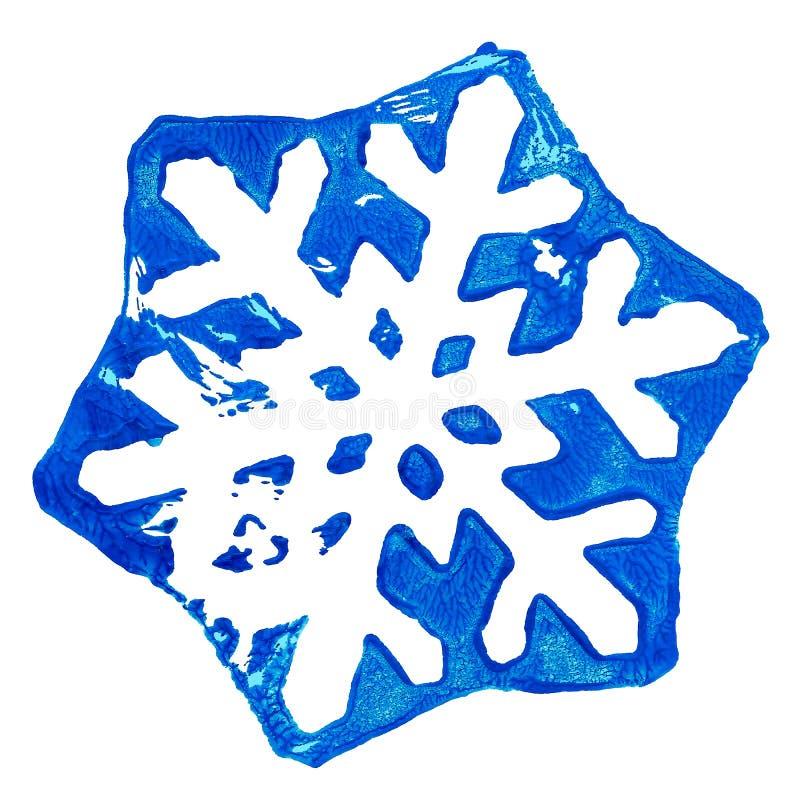 Płatek śniegu zimy krystaliczny druk z akrylowej farby śniegu lodu mrozem zdjęcia stock