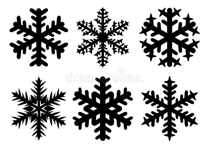 Płatek śniegu zimy sylwetka, ikona set Wektorowa kolekcja płatek śniegu ikony, odizolowywająca na białym tle royalty ilustracja