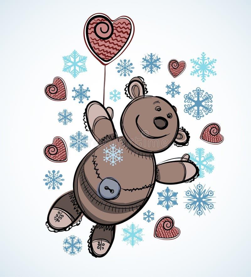 płatków śniegów miś pluszowy zabawka ilustracji
