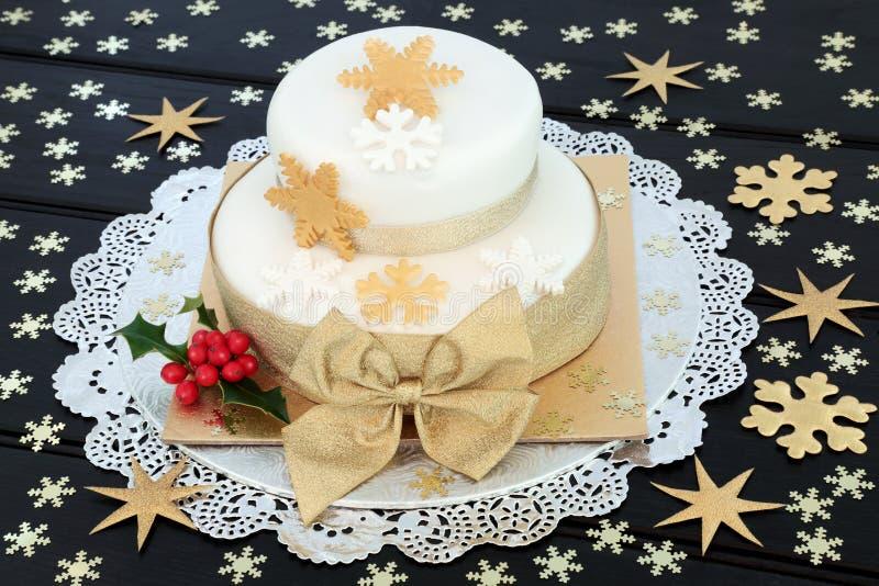 Płatków śniegu bożych narodzeń tort zdjęcie royalty free