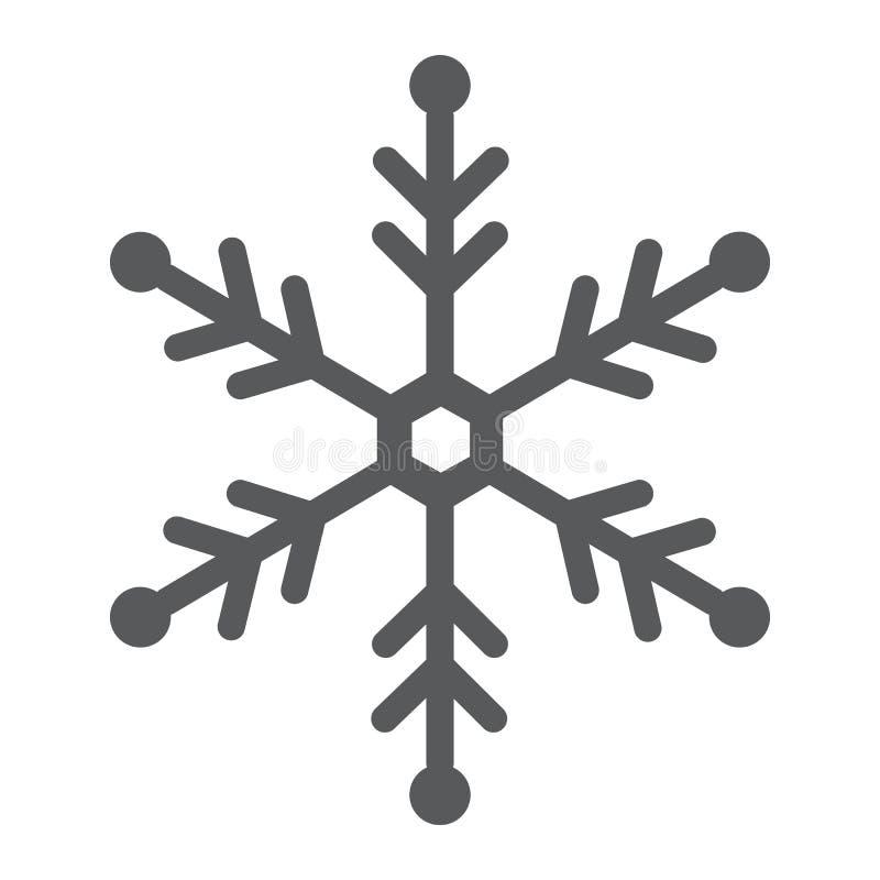 Płatka śniegu glifu ikona, śnieg i zima, mrozu znak, wektorowe grafika, bryła wzór na białym tle ilustracji