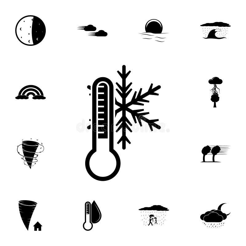 Płatka śniegu i termometru ikona Szczegółowy set Pogodowe ikony Premia graficzny projekt Jeden inkasowe ikony dla stron interneto ilustracji