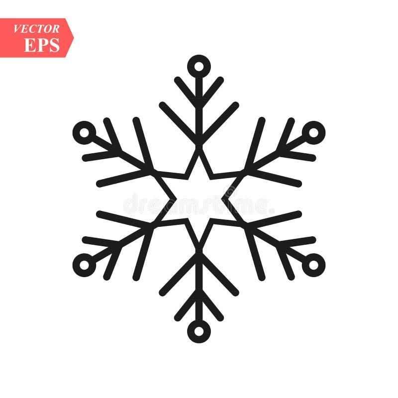płatka śniegu konturu ikona liniowy stylu znak dla mobilnego pojęcia i sieć projekta Śnieżna zima wakacje prosta kreskowa wektoro ilustracji