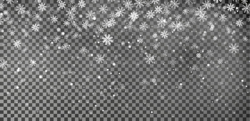 Płatka śniegu tła wektor Bożenarodzeniowy śnieżny spadek dekoraci skutek Przejrzysty wzór royalty ilustracja