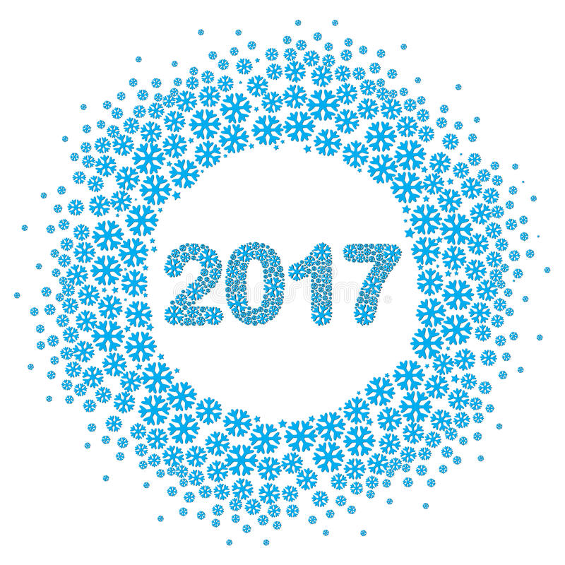 Płatka śniegu wektoru wianek 2017 liczb odizolowywających ilustracja wektor