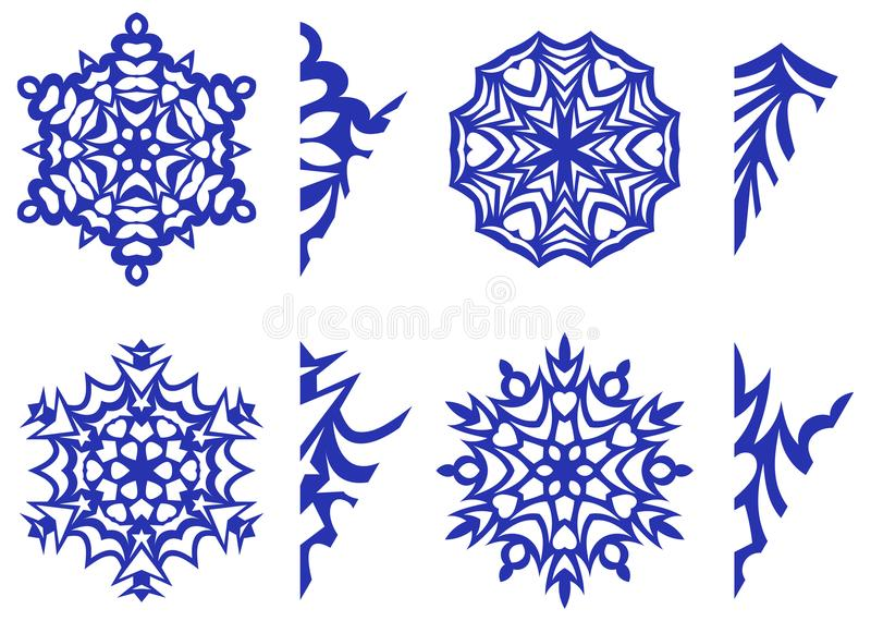 Płatki śniegu dla wystroju z wzorami dla rzeźbić ilustracja wektor