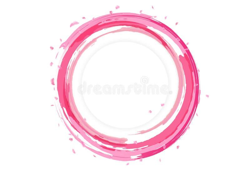 Płatki Sakura rozpraszają projekt z wodną pluśnięcie sztandaru kartą, l ilustracji