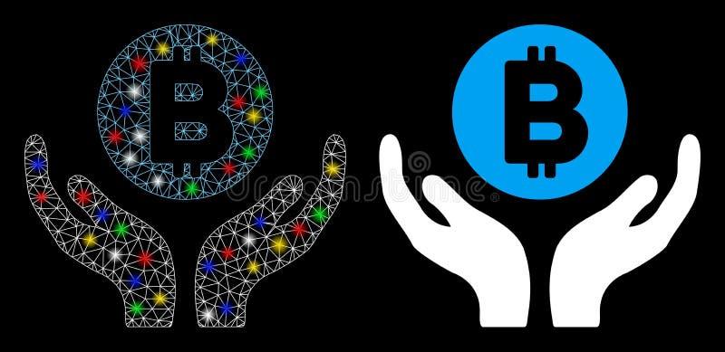 Płatkowa mesz tusza Bitcoin Pomoc Rączki Ikona z plamkami ilustracja wektor