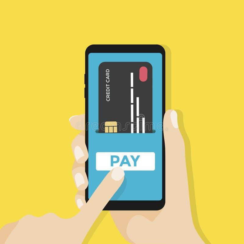 Płatnicza strona i kredytowa karta na smartphone ekranie z wynagrodzeniem zapinamy Ręka trzyma smartphone royalty ilustracja