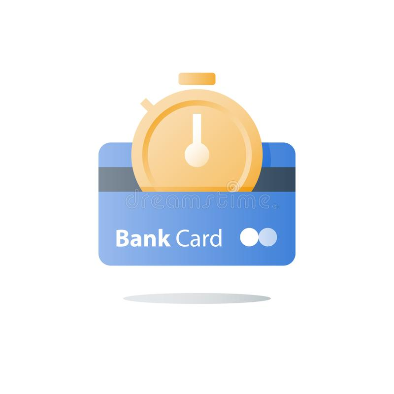Płatnicza zaliczka, karta kredytowa, bank usługi, postu pieniężny rozwiązanie, stopwatch ikona, natychmiastowa transakcja, okres  royalty ilustracja