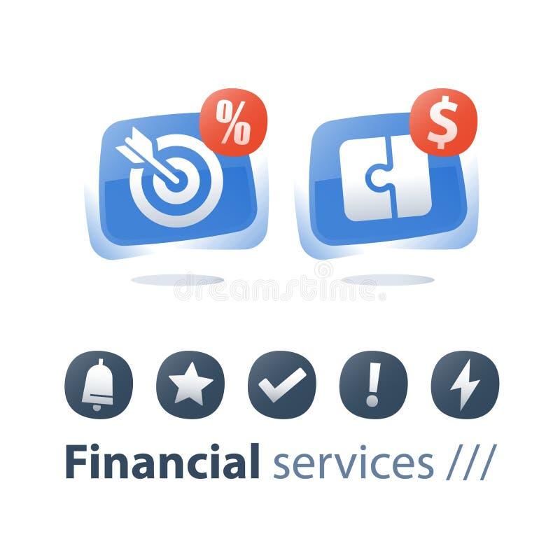 Płatnicza zaliczka, pieniężny rozwiązanie, strategia inwestycyjna, łamigłówka kawałek, cel strzała, gotówkowa pożyczka royalty ilustracja