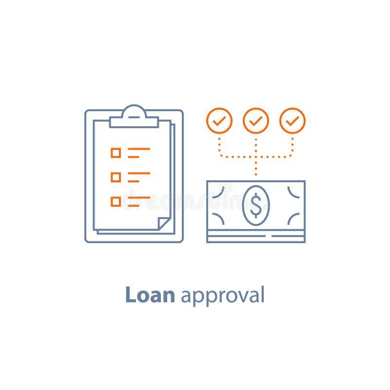 Płatnicza zaliczka, pożyczkowy zatwierdzenie, lista kontrolna schowek, polisa ubezpieczeniowa, pieniężna usługa, kreskowa ikona ilustracji