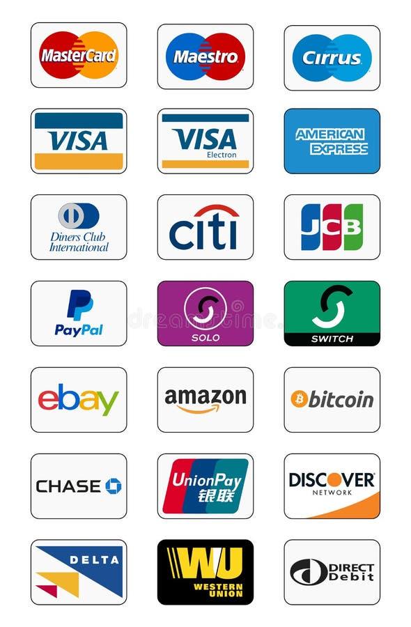 Płatnicze metod ikony ilustracja wektor