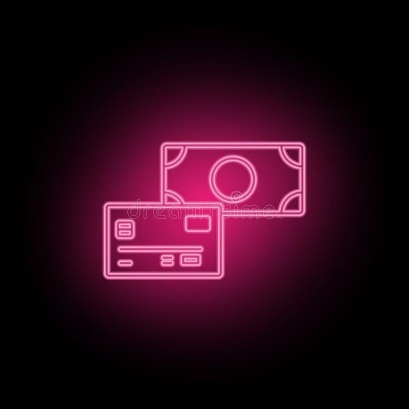 Płatniczej metody neonowa ikona może używać ilustrować tematy o SEO optymalizacji, dane analityka, strony internetowej performace royalty ilustracja