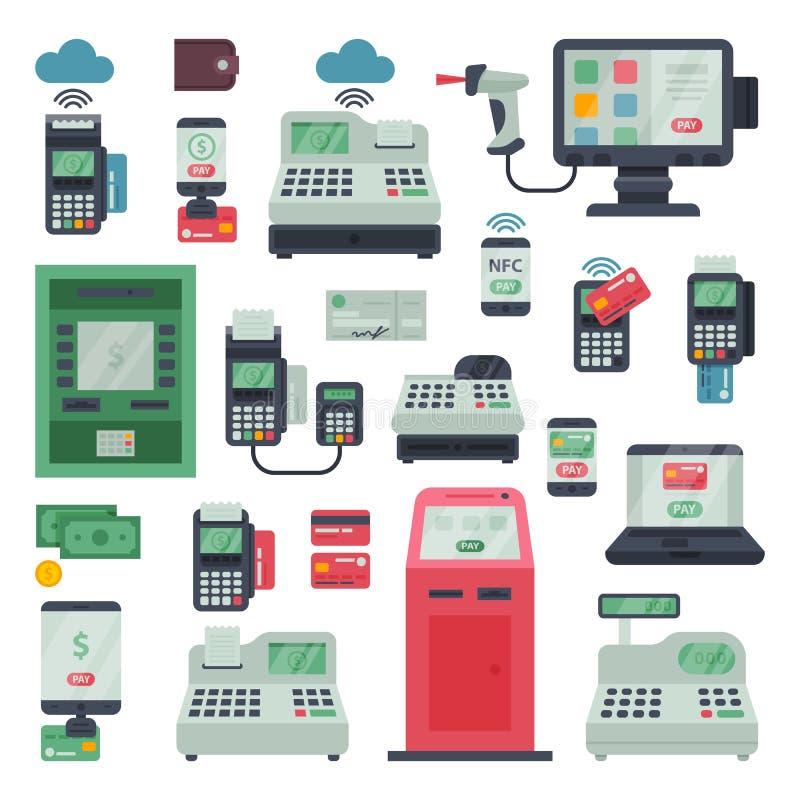 Płatniczy maszynowy wektoru pos bankowości terminal i atm deponujemy pieniądze system dla kredytowej karty płaci przez machining  royalty ilustracja
