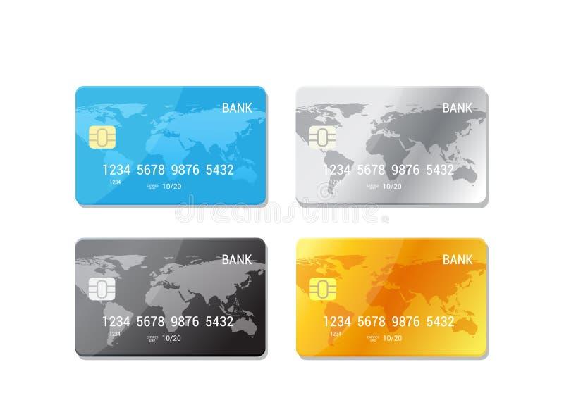 Płatniczy pojęcie Set kredytowe karty - ilustracja w mieszkanie stylu ilustracji