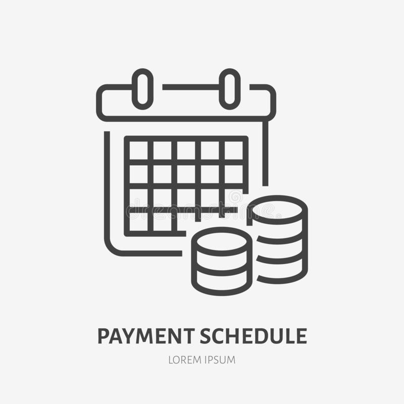 Płatniczy rozkład z pieniądze mieszkania linii ikoną Pieniężny kalendarza znak Cienieje liniowego loga dla pieniężnych usługa, po ilustracji