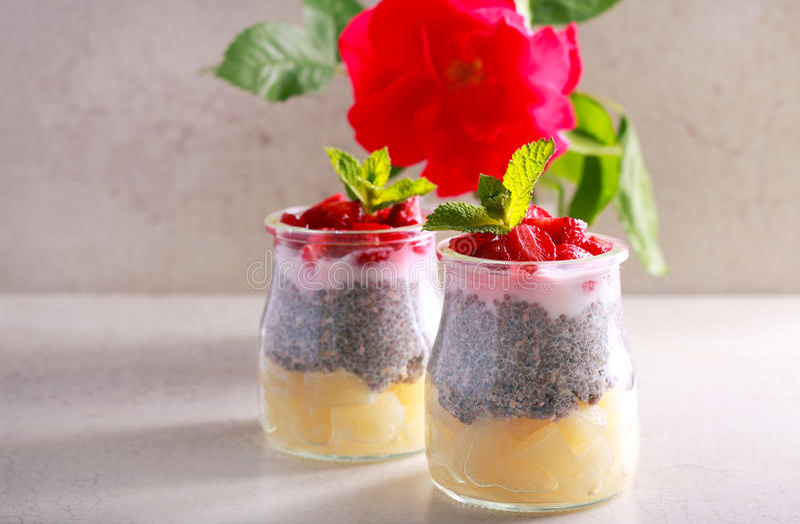 Płatowata owoc, jagoda, chia jogurt i ziarno, i przekąszamy fotografia stock