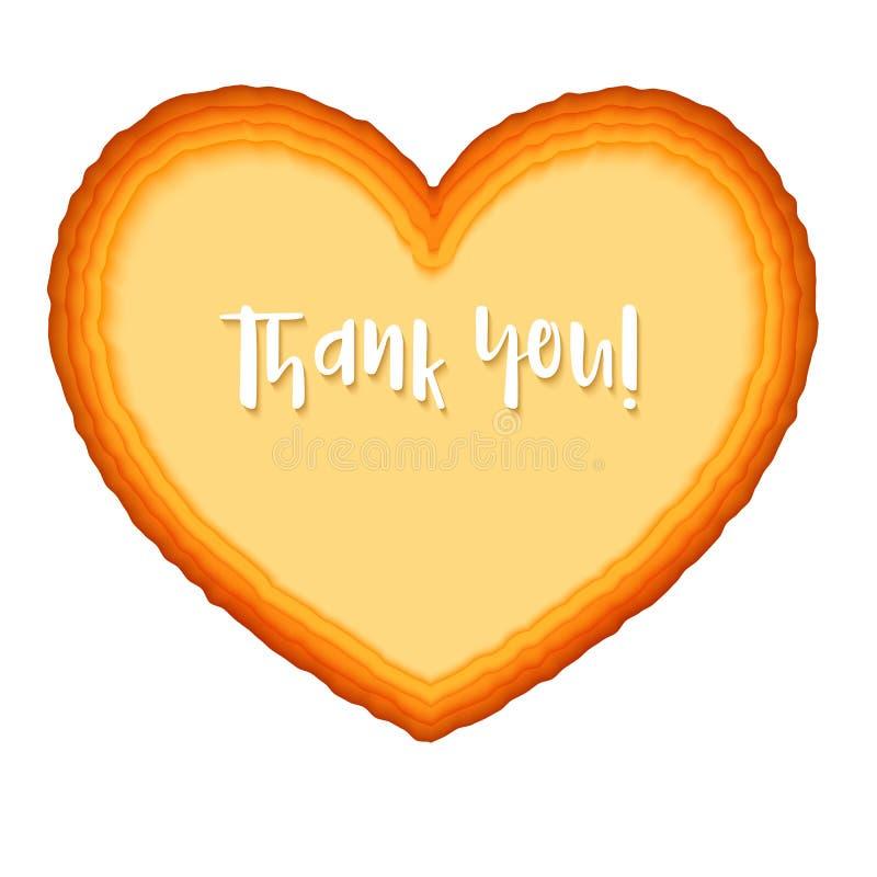 Płatowata papierowa sztuka Papieru serca rżnięci kształty 3D ilustracja, abstrakcjonistyczny tło Dziękuje ciebie powitanie, poczt ilustracja wektor