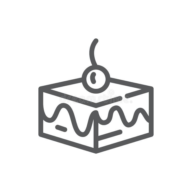 Płatowata tortowa wektorowa ilustracja - editable kreskowa ikona kwadratowy kawałek słodki kulebiak dekorował z mrożeniem i wiśni ilustracja wektor