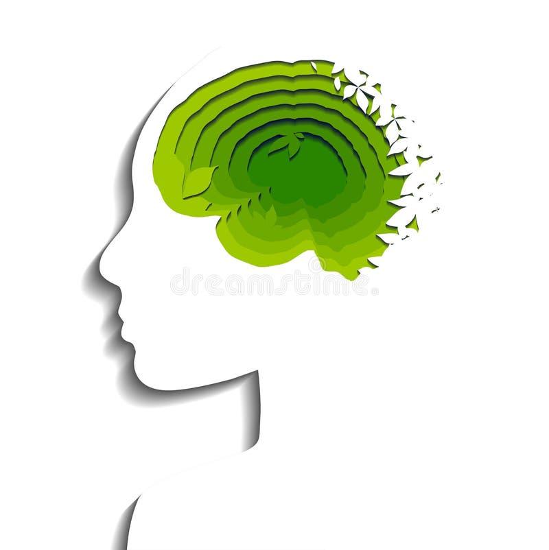 Płatowaty eco ludzkiego mózg cięcie z papieru na białym tle Papieru r?ni?ty origami Ekologicznie życzliwe myśli wektor royalty ilustracja